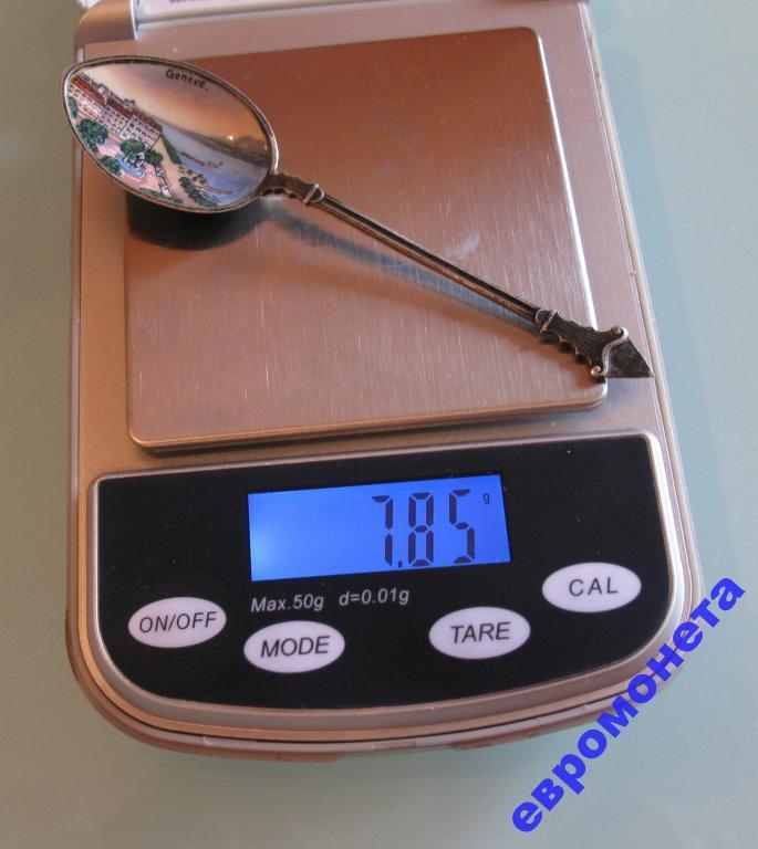 Женева Швейцария маленькая чайная ложечка эмаль серебро 800 00725