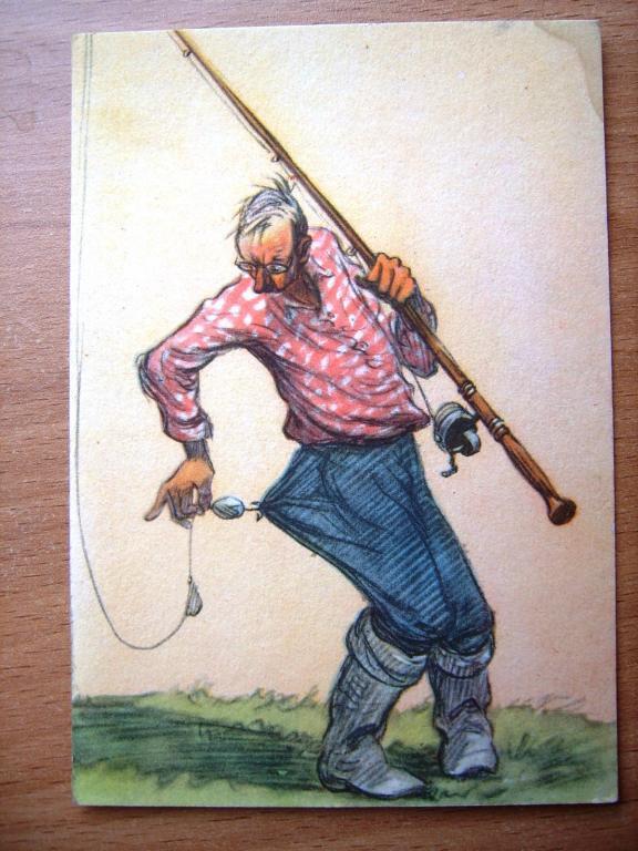 ретро открытка рыбак