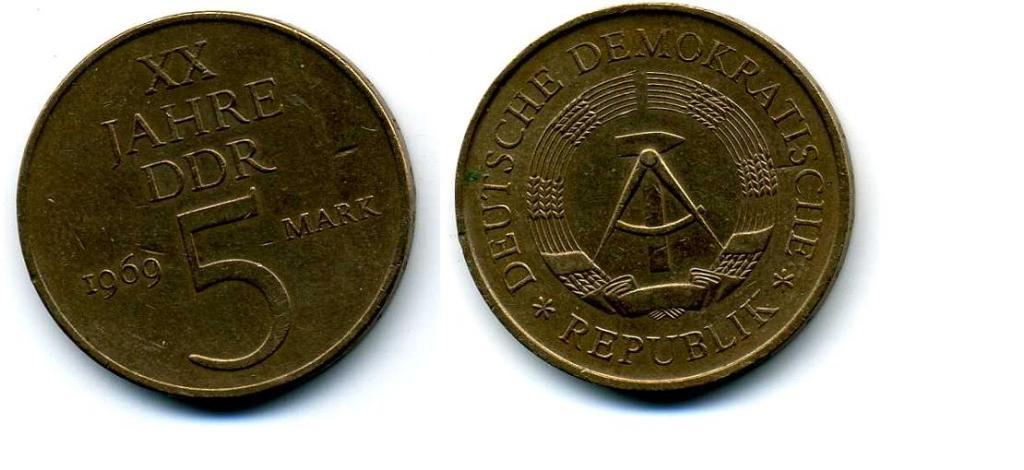 5 марок - ГДР - 1969 - 20 лет образования ГДР