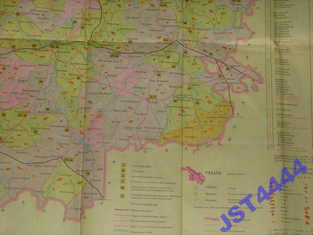 карта для охотников и рыболовов рязанской области