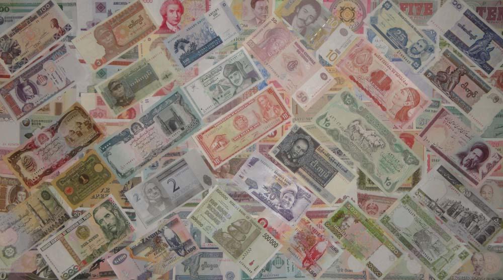 Коллекция 100 иностранных банкнот и расчетных знаков