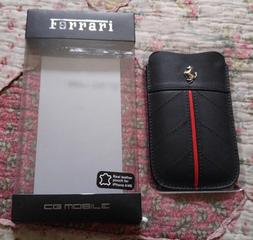 Чехол натуральная кожа Ferrari для Apple iPhone 4/4S новый