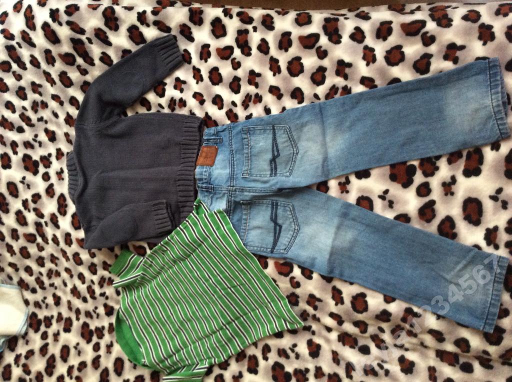 Брендовый Комплект джинсы поло джемпер рост 104-110
