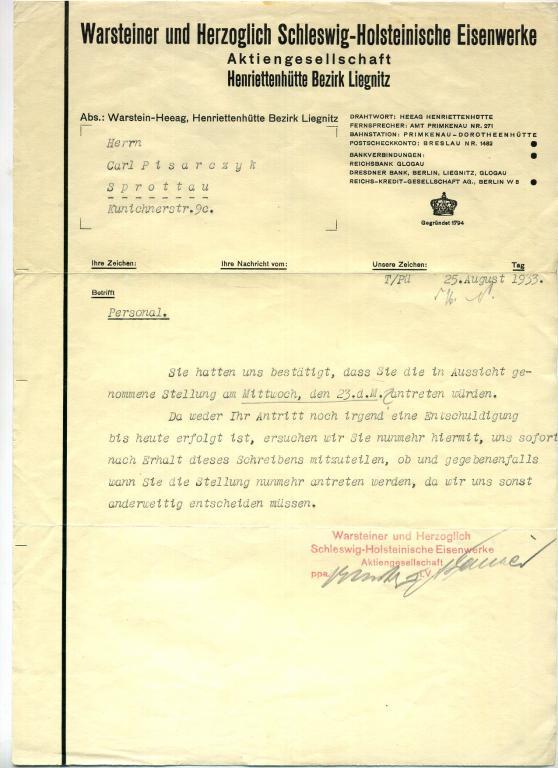 Warsteiner & Herzoglich. документ. 1933 год. 3 рейх