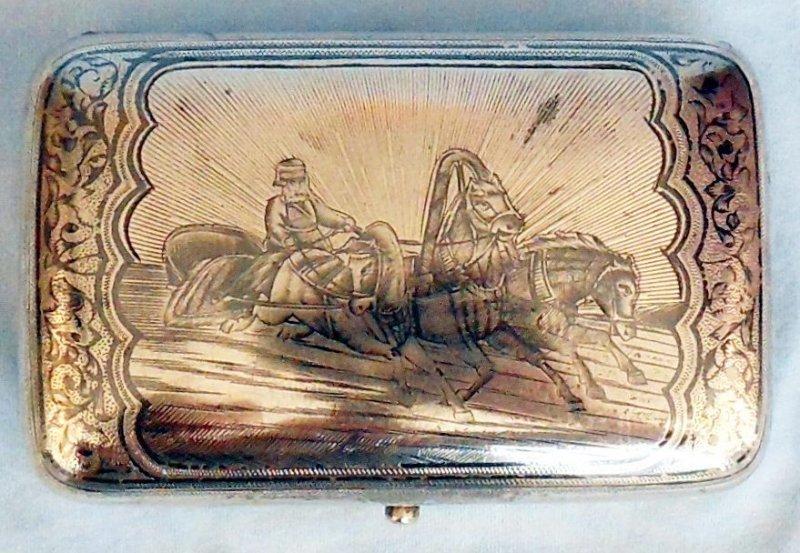 МОСКВА  Портсигар  ТРОЙКА  Серебро 84 проба  ЧЕРНЕНИЕ  1891 год