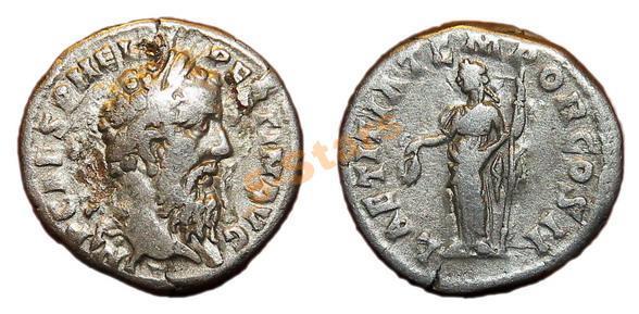 -AS-  Римская Империя - Император Пертинакс, денарий Счастье (очень редкий)