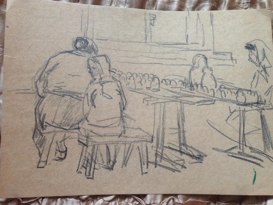 Сорокин И.В. Женщины,сидящие у деревянных столов