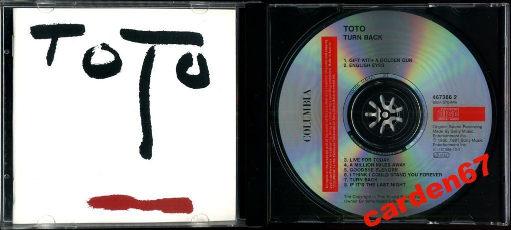 TOTO =TURN BACK= 1981 AUSTRIA CD