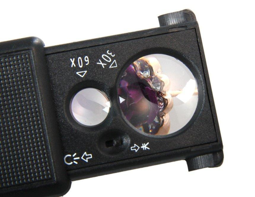 Многофункциональная увеличительная лупа микроскоп 60Х 30X кратная UF УФ ультрафиолетовым светом LED