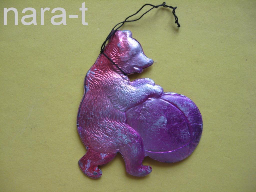 Ёлочная игрушка. Медведь, картон.