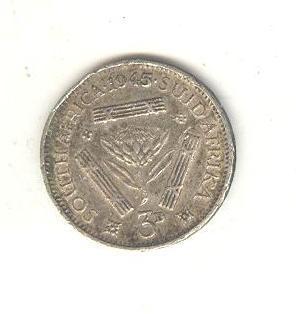 Южная Африка.3 пенса.1945г.Георг 6.Серебро.