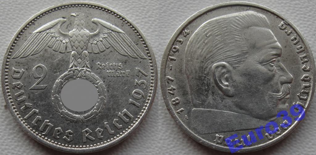 ГЕРМАНИЯ 3 рейх 2 марки 1937А СВАСТИКА сохран У135