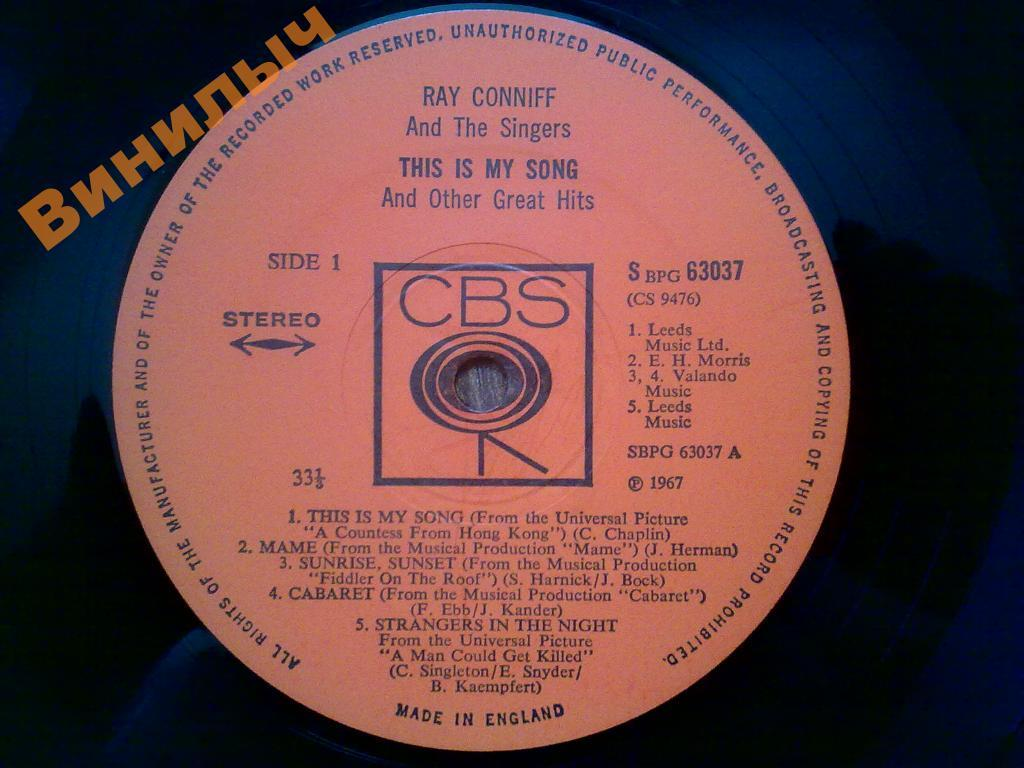 RAY CONNIFF This Is My Song LP EX/EX+