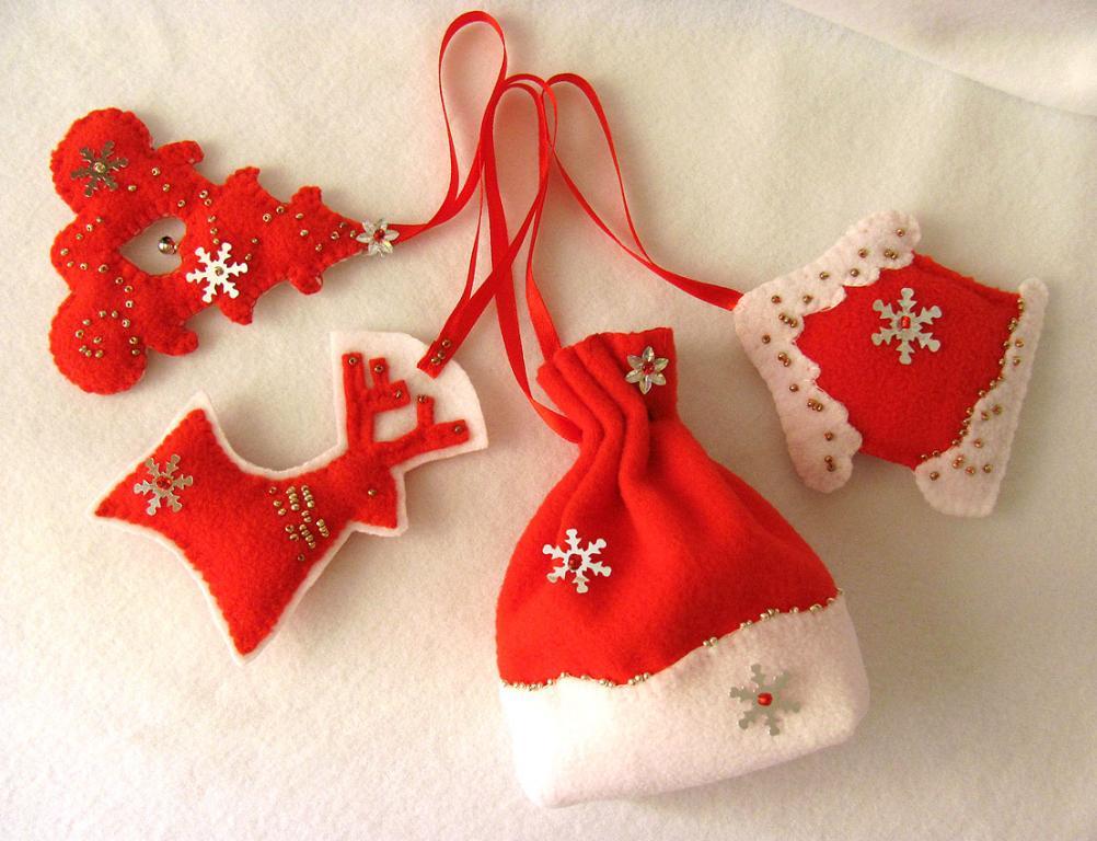Эксклюзивные новогодние украшения handmade, набор