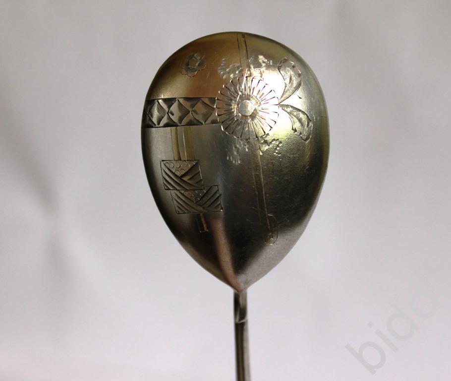 Ложка десертная с гравировкой. Серебро 84 пр,позол