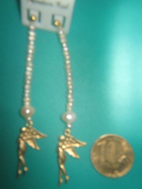 Серьги ,,Ангелы,, ,натуральный жемчуг