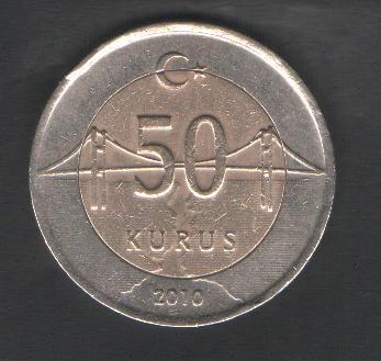 Турция 50 куруш 2010 г.