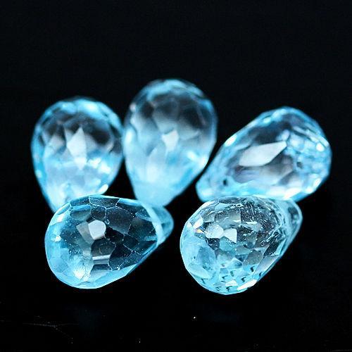 11.22 ct. натуральный бразильский топаз бриолет просверленые 5 камней