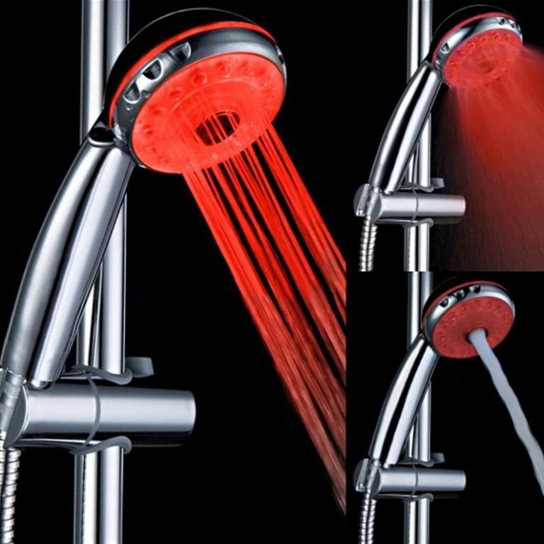 Светодиодный светящийся душ лейка 12-LED меняет цвет свечения в зависимости от температуры воды