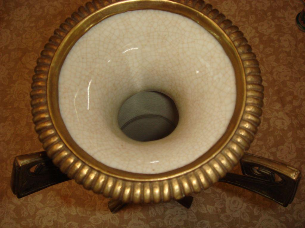 Керамическая ваза, фаянс с бронзой,