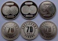 70 лет советскому чекану 1921-1991. Комплект из 3-х монетовидных жетонов, 2003-2007 гг.