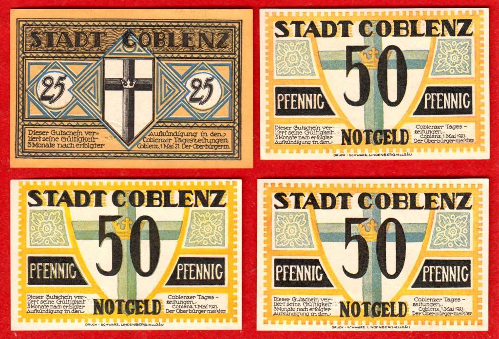 Германия (Кобленц COBLENZ), 25, 50, 50, 50 пфеннингов, 1921, UNC
