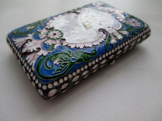 Царский портсигар серебро 84 эмаль многоцветка
