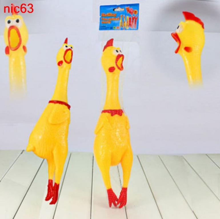 Забавная игрушечная резиновая кричащая курица 17см для себя и своего домашнего питомца собаки