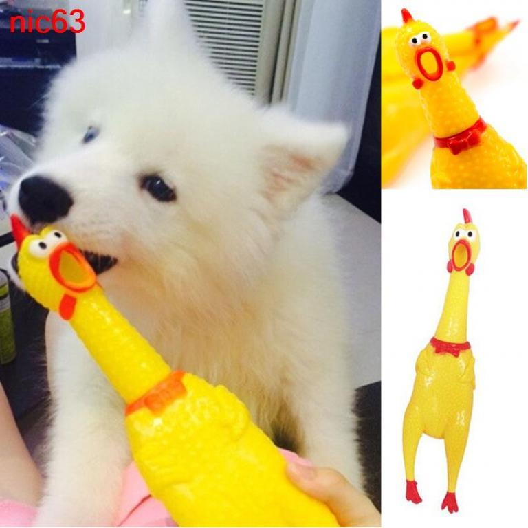Забавная игрушечная резиновая кричащая курица 40см для себя и своего домашнего питомца собаки