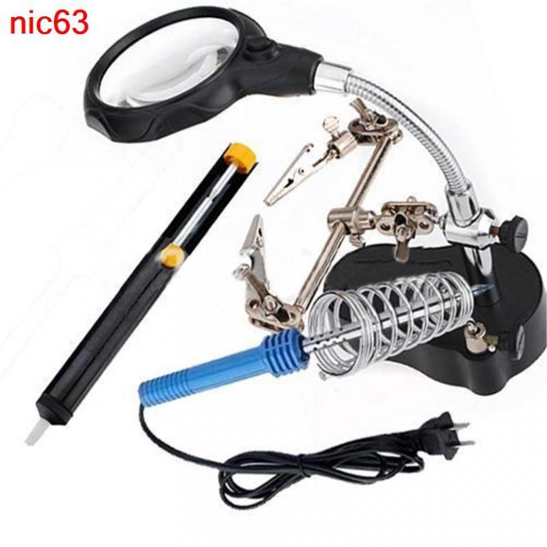 Лупа паяльная станция держатель зажимы тиски инструмент со светодиодной LED подсветкой