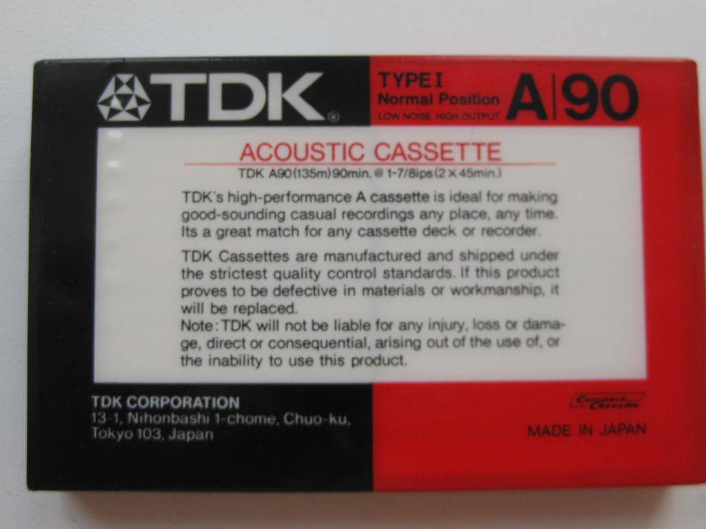 Аудио кассета TDK A 90 Japan. Запечатанная.