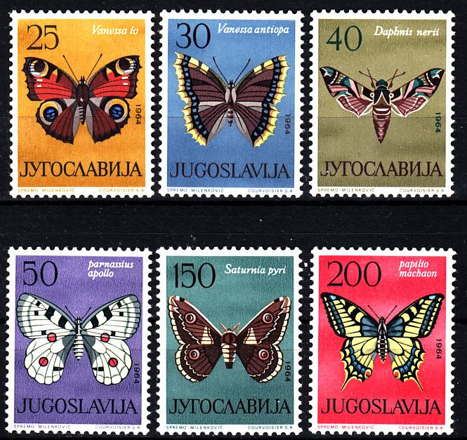 1964 Югославия Фауна Бабочки № 1069 - 1074 п/с ** 12 евро