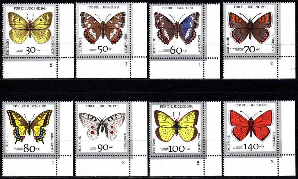 1991 Германия Фауна Бабочки № 1512 - 1519 п/с ** 12 евро