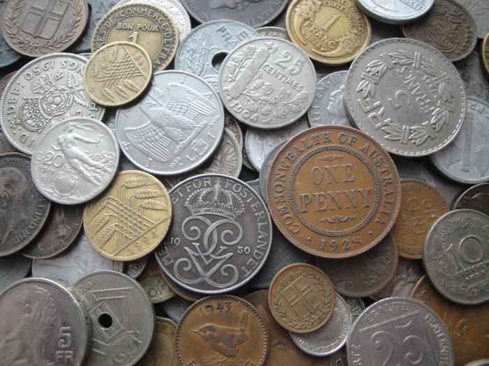 Коллекция 60 иностранных монет до 1950 года выпуска