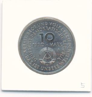 ГДР 10 марок 1990 100 лет UNС