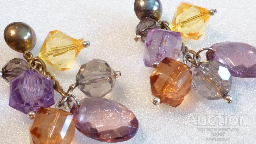 Серьги-пусеты с кристаллами-винтаж