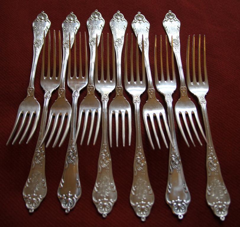 Комплект вилки Клингерт серебро 84, вес 304 грамма 6 шт