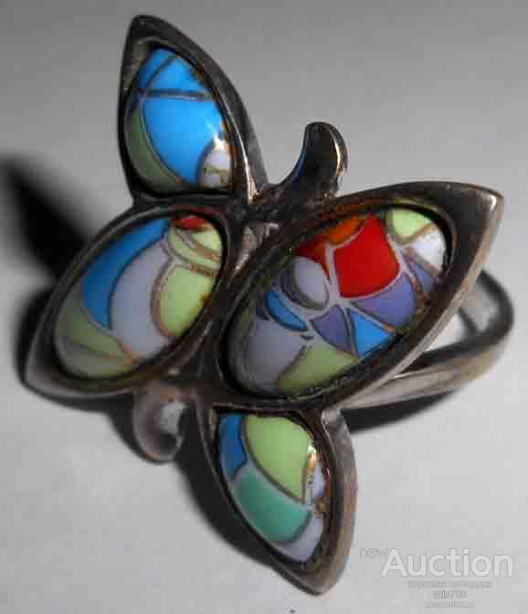 Кольцо. Перстень. Бабочка. Серебро. Эмаль. Финифть. 925 проба.