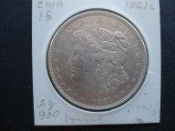 США 1 доллар 1921 Серебро (Доллар Моргана) Оригинал. Монета в холдере