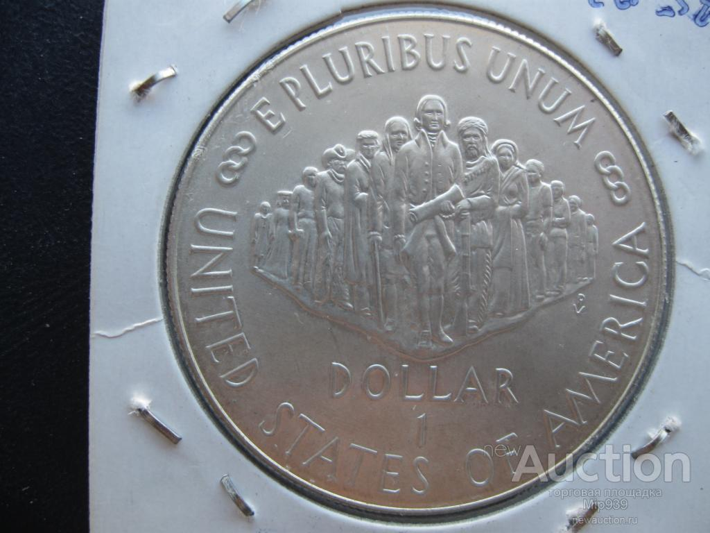 США 1 доллар 1987 Серебро 200-лет Конституции Оригинал. Штемпельный блеск. Монета в холдере