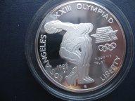 1 доллар 1983 Серебро XXIII ОИ в Лос-Анжелесе. ПРУФ  Отличная. В родной капсуле..