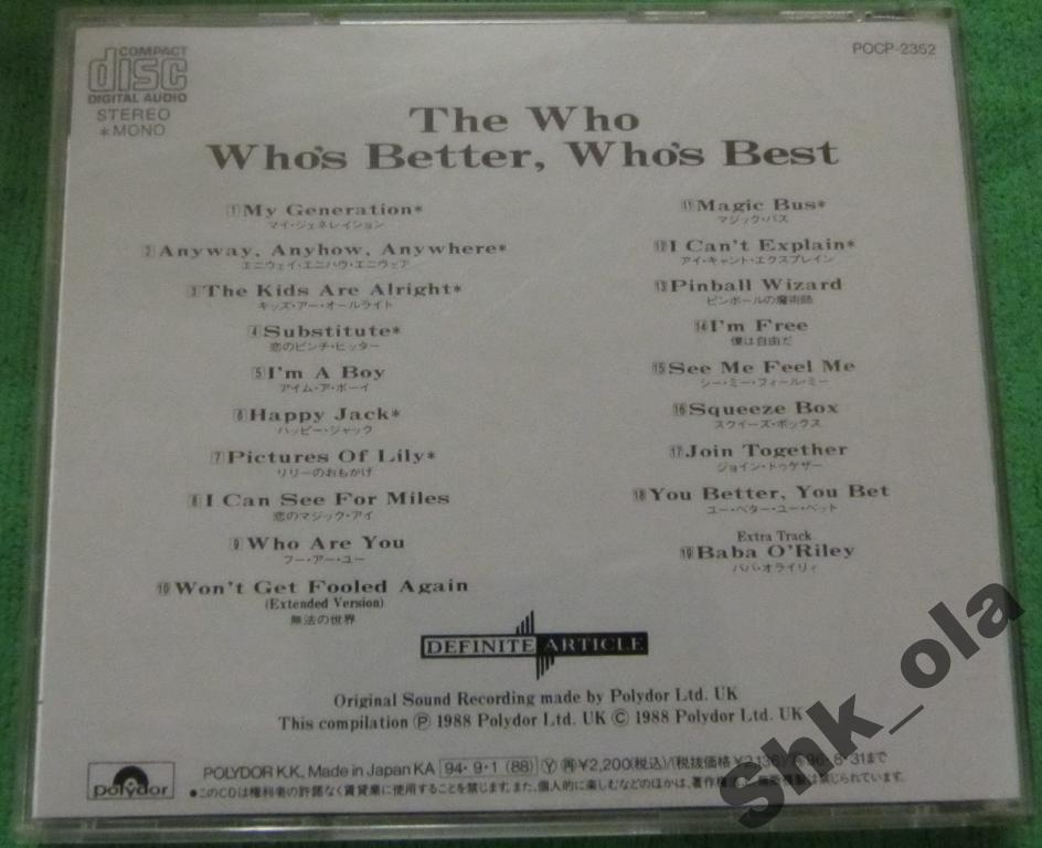 Who, The / Who's Better, Who's Best (Japan 1994)