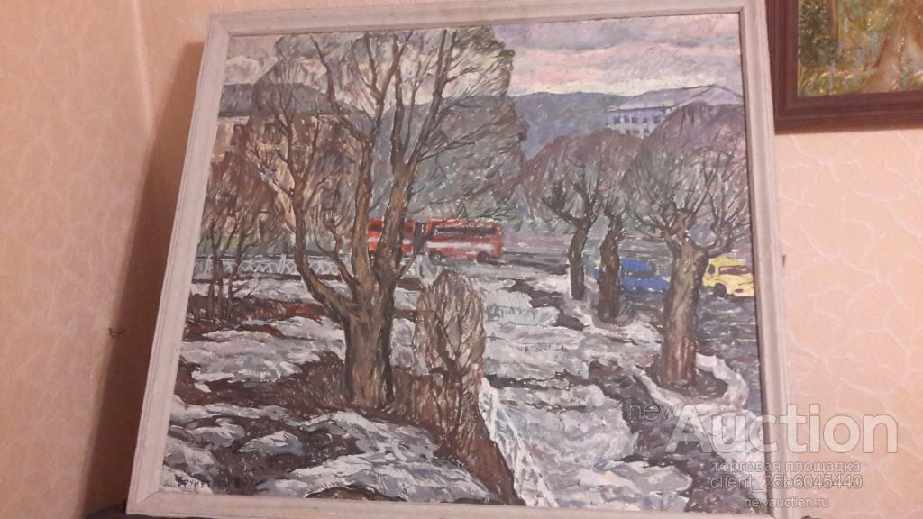 Картина на ДВП Масло Троицк Городской пейзаж 70-е годы Оригинал 100 % Цена - 30 000 руб.