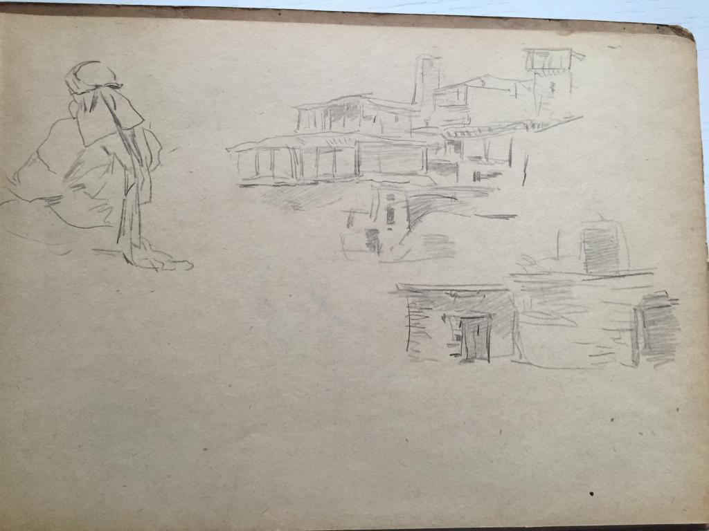 Родионов М.С. (1885-1956) Горное селение и сидящая девушка