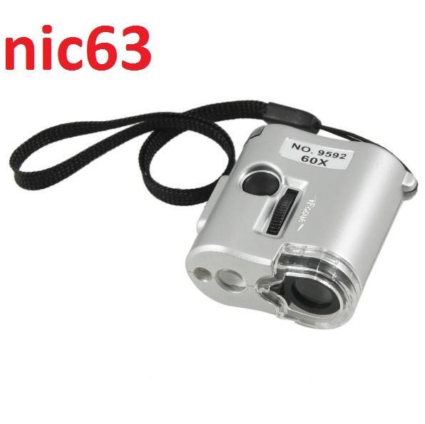 Многофункциональная увеличительная лупа микроскоп 60Х кратная с UF УФ ультрафиолетовым светом