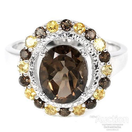 Серебряное кольцо с натуральным дымчатым черным кварцем и цитринами