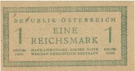1 рм (сов.зона оккупации Австрии) 1945 года,. P#113а, цифры номинала на одном уровне ,aUNC