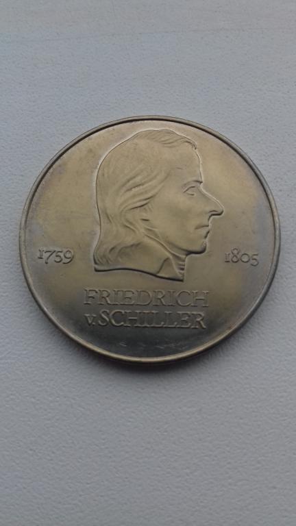 20 марок 1972 год А,ГДР,Фридрих Шиллер