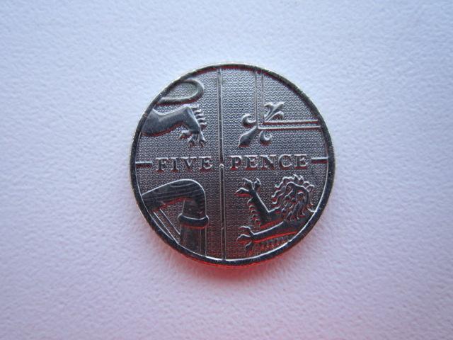 5 пенсов 2010 год,Англия,UNC