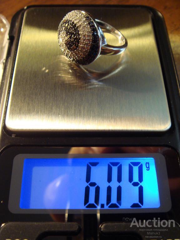 Золотой гарнитур, серьги и кольцо, черные и белые бриллианты, 14К
